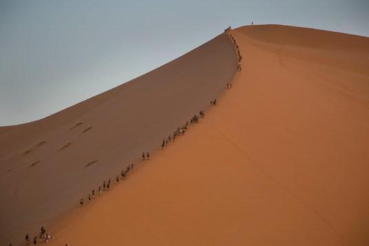 España Rumbo al Sur 2017. Los expedicionarios suben a la gran duna. (Photo: Jose L. Cuesta)