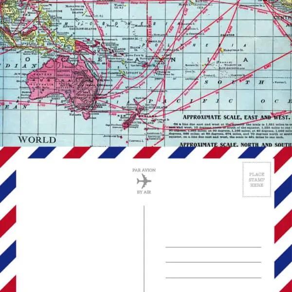 Vintage Map Airmail Postcard - Printable on tortagialla.com