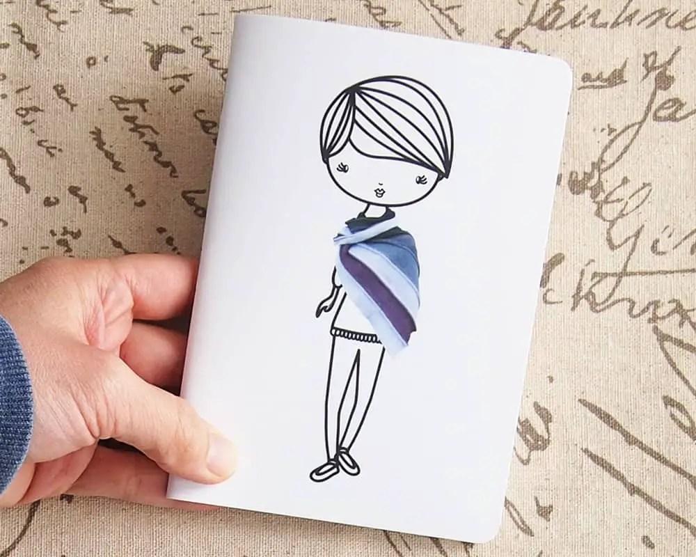 Crochet shawl lady illustration pocket notebook