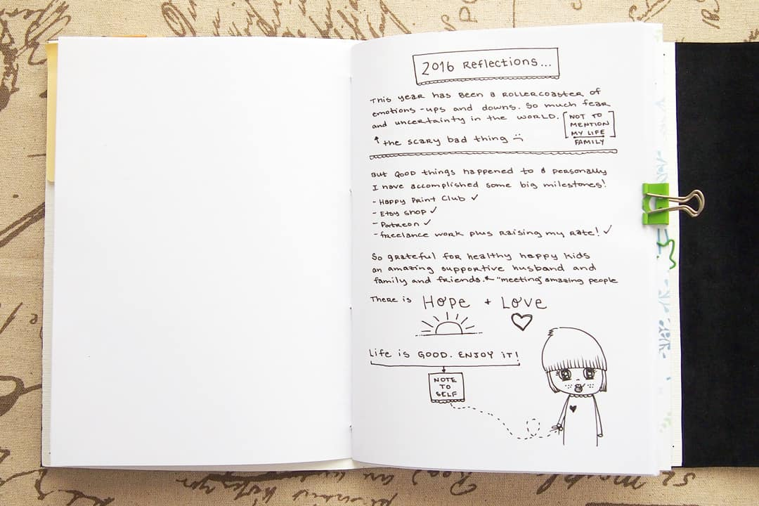 bullet journal setup - reflections