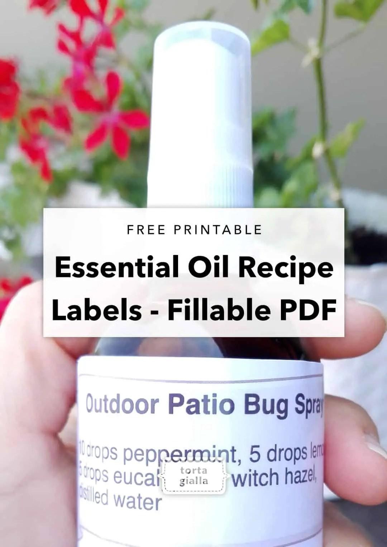 essential oil recipe label - fillable PDF