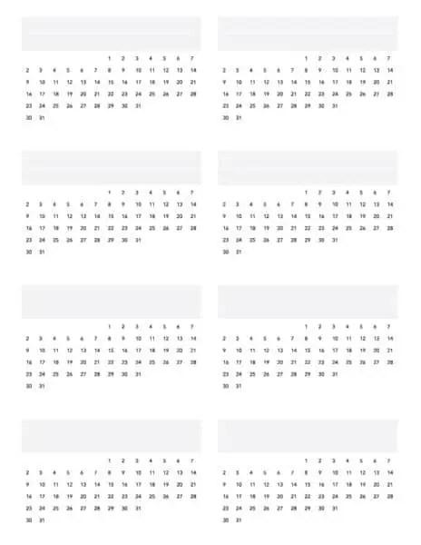 perpetual monthly calendar printable PDF