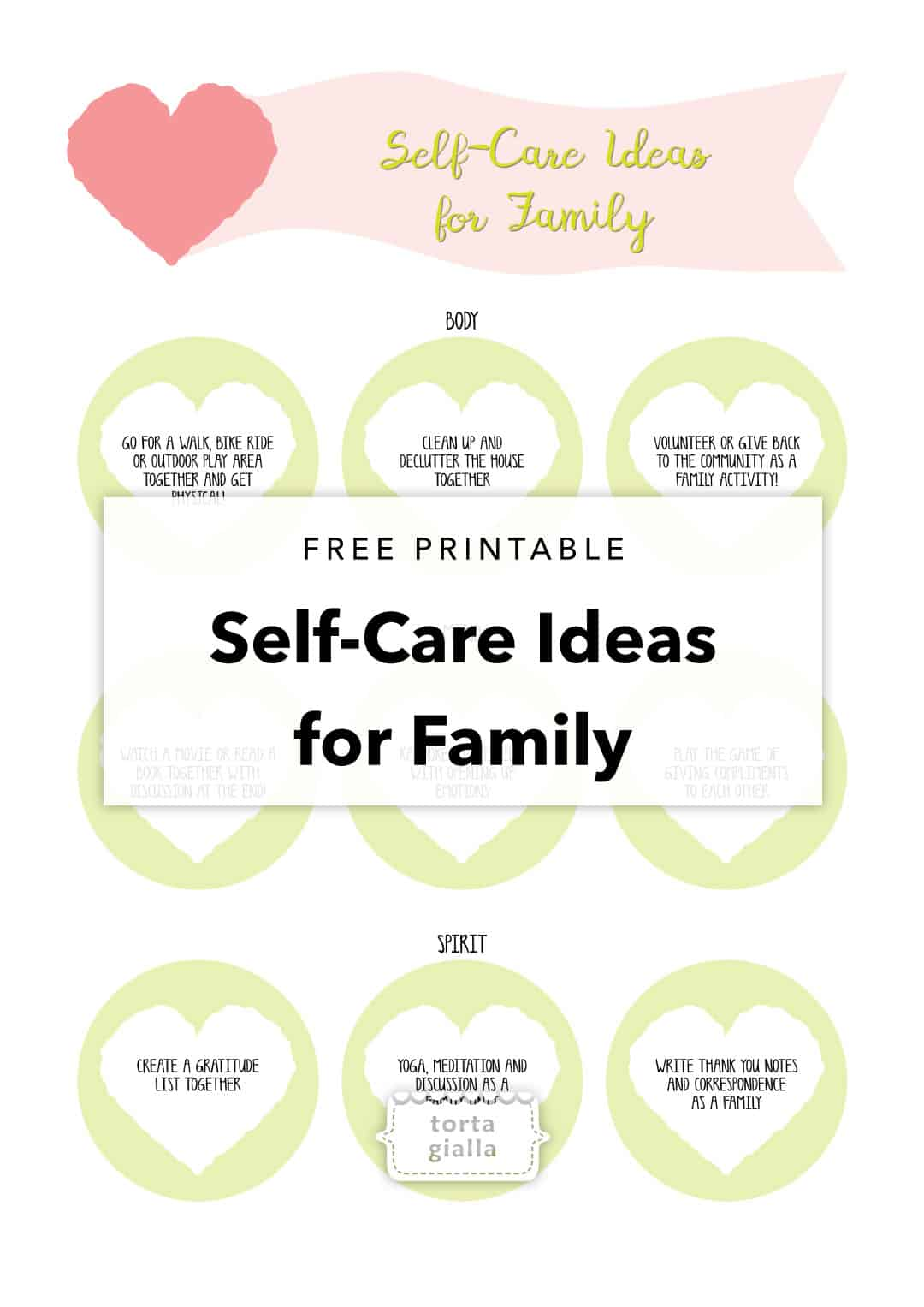 Self Care Ideas For Families Printable