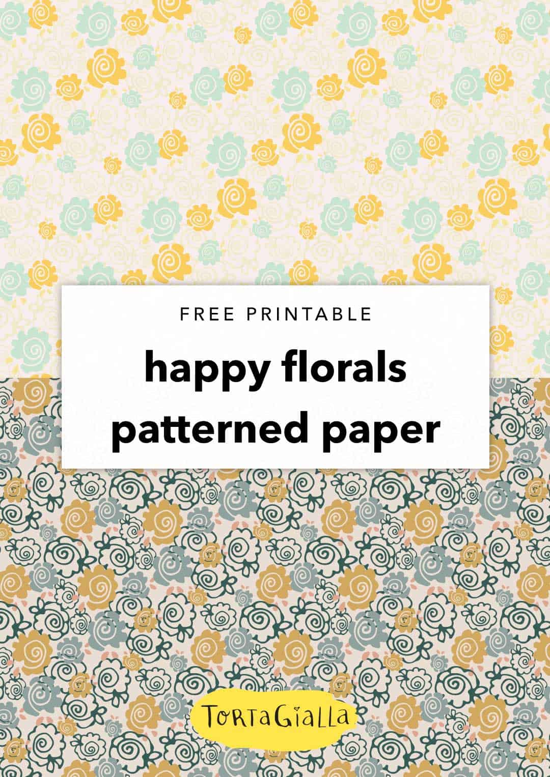photograph relating to Printable Patterned Paper titled Totally free Printable Content Florals Patterned Papers tortagialla