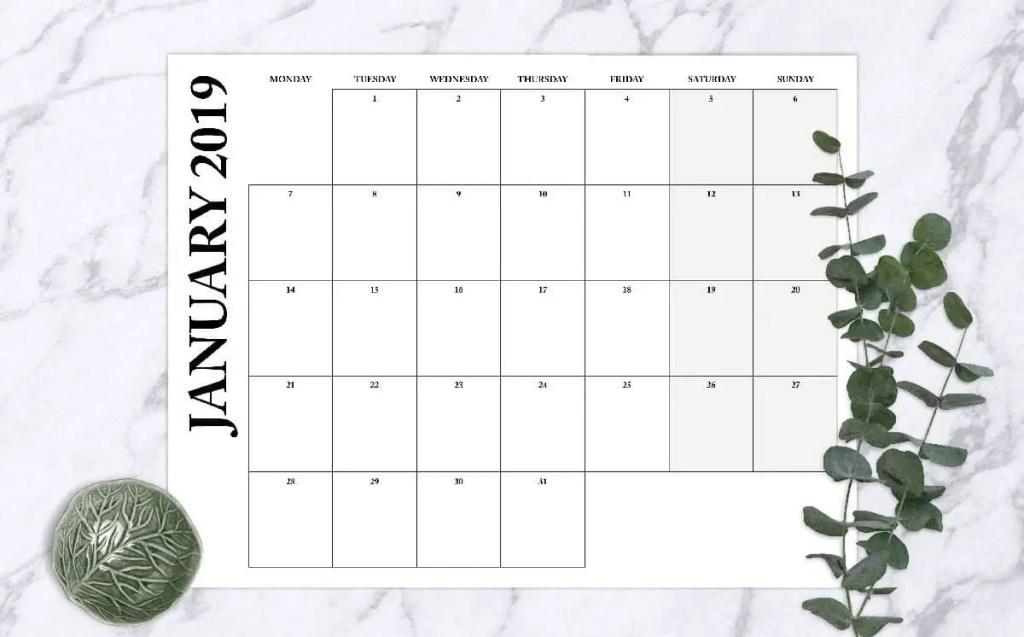 2019 Printable Monthly Calendar