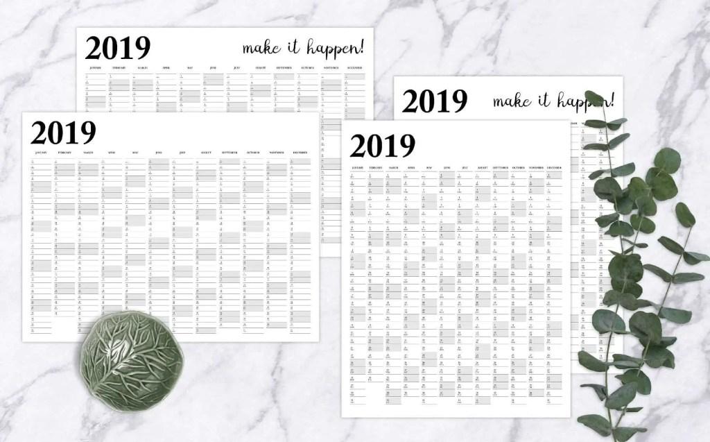 2019 Year Calendar Printable