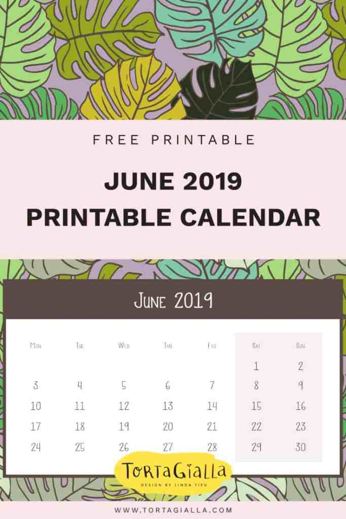 June 2019 Printable Calendar - Free Download - Design by tortagialla.com