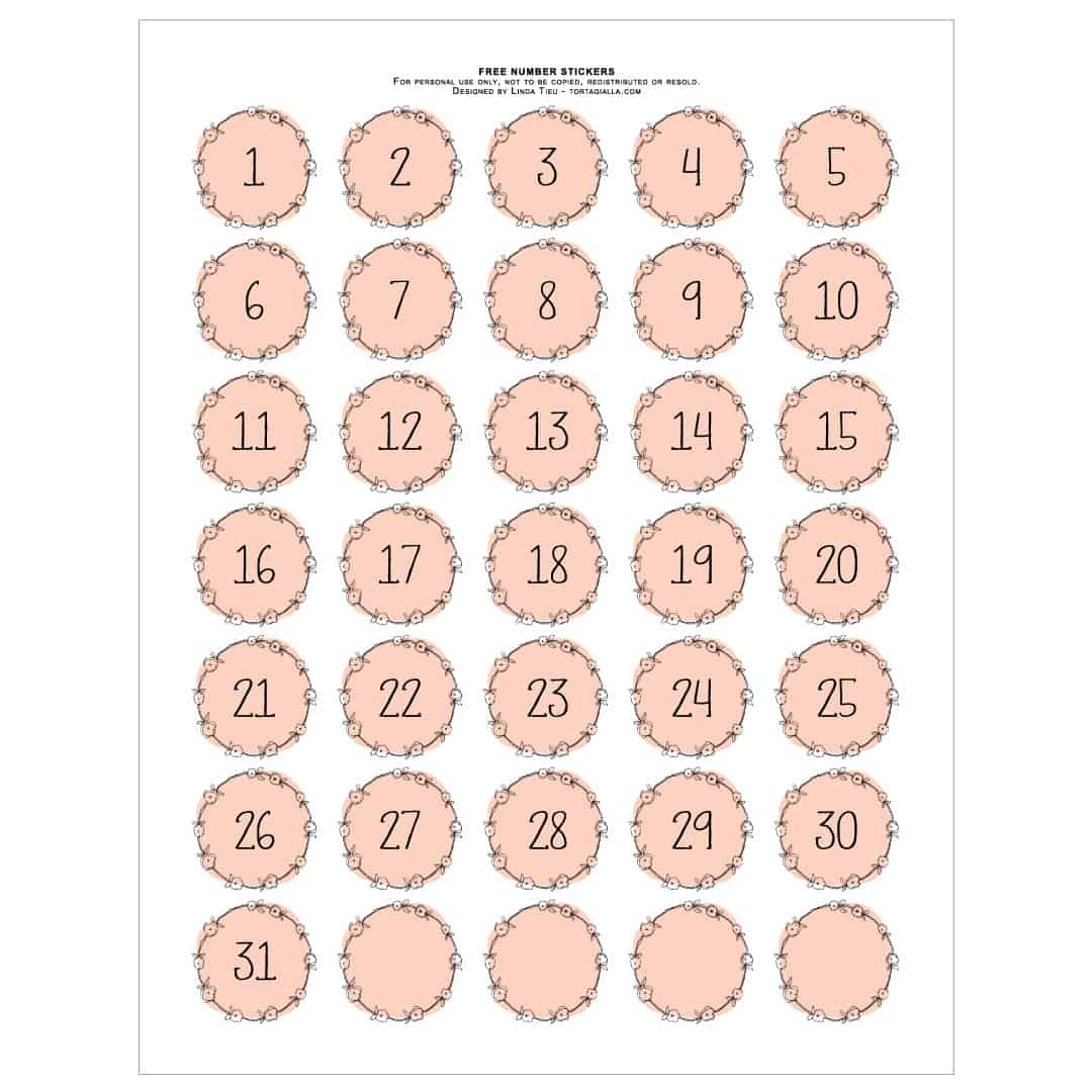 graphic relating to Free Printable Numbers known as Printable Figures - Beautiful Red Wreath Layout tortagialla