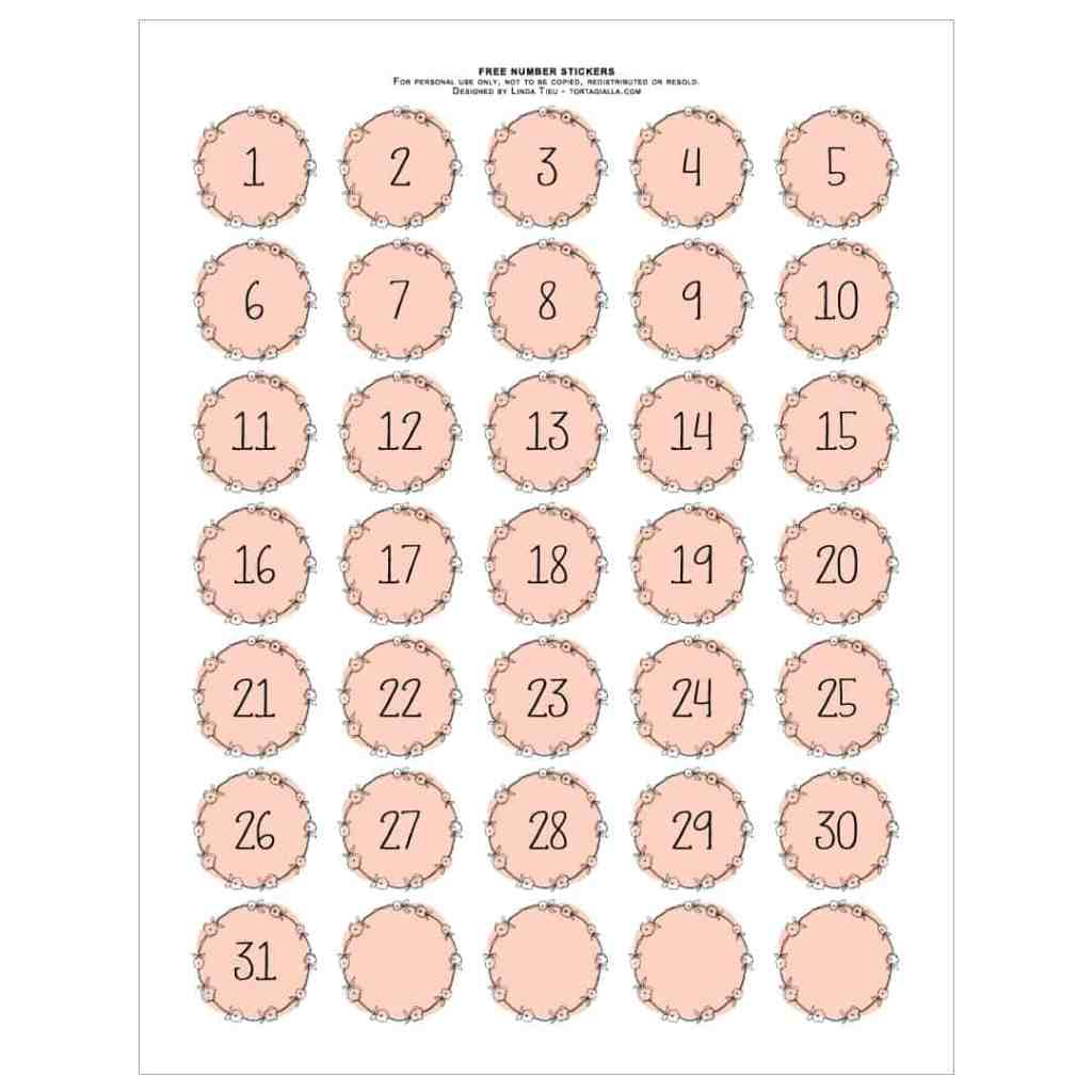 Free printable numbers - 1-31 stickers plus blank variations - from tortagialla.com
