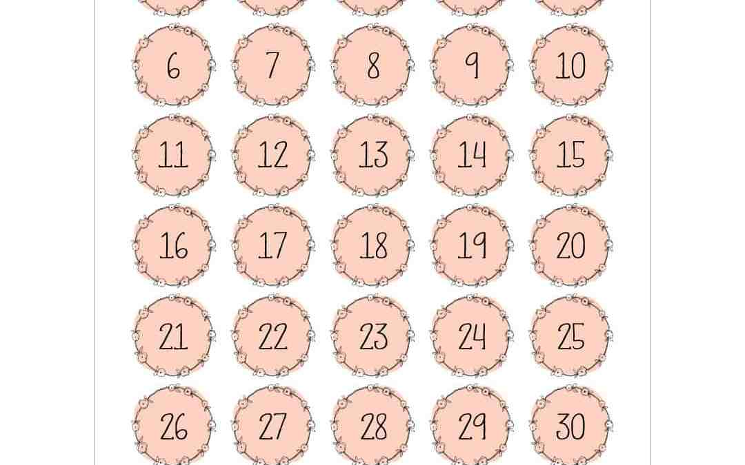 Printable Numbers – Pretty Pink Wreath Style