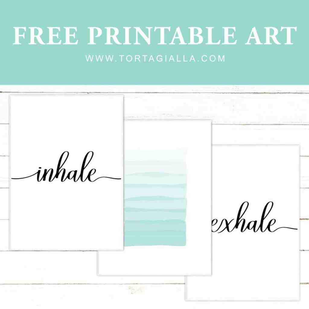 Inhale, exhale script words with abstract aqua brushstrokes. Download this set of 3 printable art prints - exclusive for my email subscibers. Transform your space instantly!