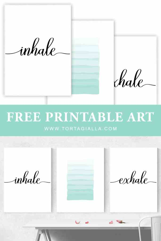 Inhale Exhale printable gallery wall art set includes 3 prints: cursive inhale, layered aqua brushstrokes, cursive exhale. FREE DOWNLOAD for my email subscribers. Instantly decorate your wall with these free printables!