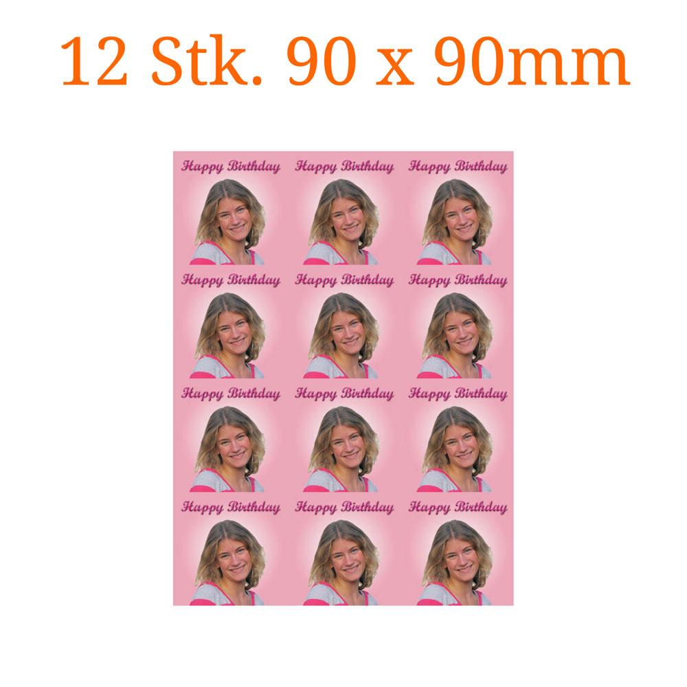 12 Stck essbare Bilder quadratisch 90x90mm  tortenbilderat