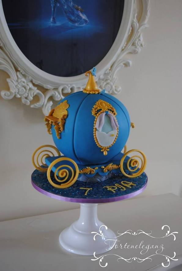 Cinderella Kindergeburtstag 3D Torte Candy und Deko Kutsche