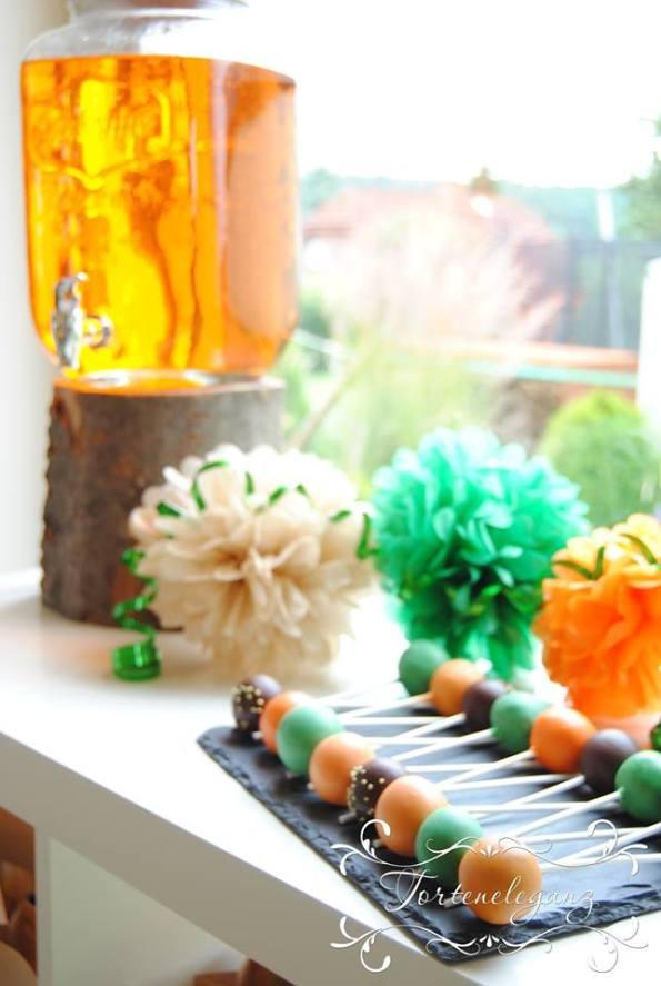 Robin Hood Torte und Candy Table Paul 4 Cake Pops und Wasser