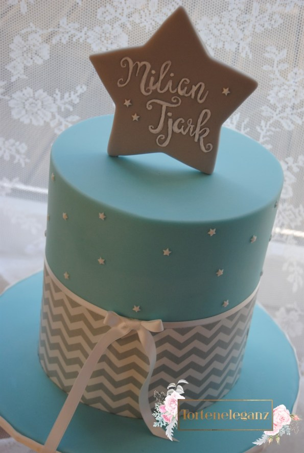 Calligraphie Chefvron Stern Torte Hellblau zum Geburtstag