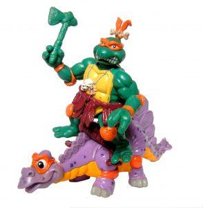 Figurine Cave Turtle Mike with Silly Stegosaurus 1993 Tortues Ninja TMNT