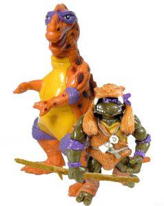 Figurines Cave Turtle Don with Trippy Tyrannosaurus 1993 Tortues Ninja TMNT