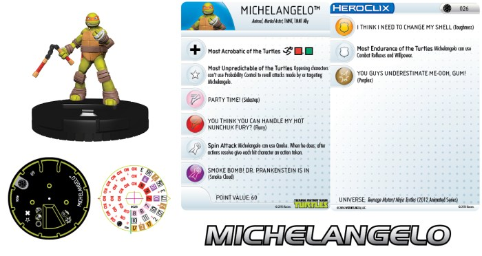 HeroClix fiche #026 Michelangelo Nickelodeon 2016 Tortues Ninja Turtles TMNT