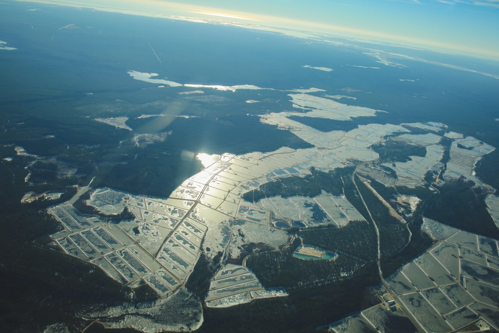 Aerial photo of frozen cranberry bogs