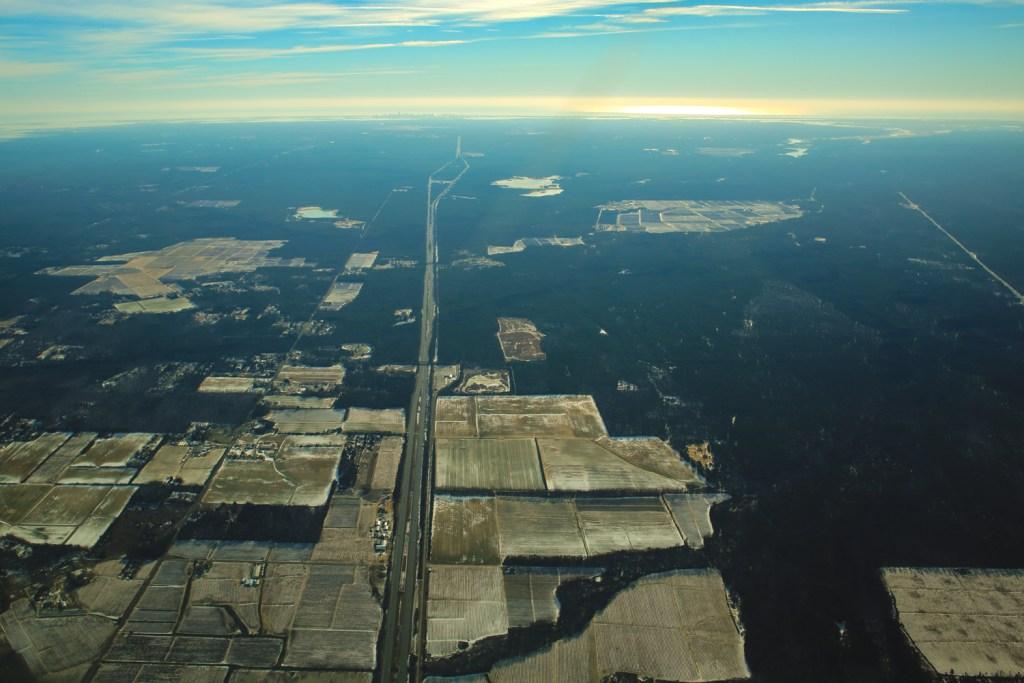 Aerial photo of the AC Expressway heading towards Atlantic City