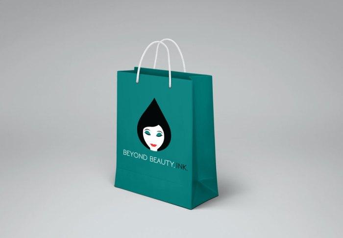 Beyond Beauty Ink permanent makeup logo mockup shopping bag