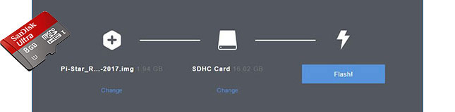 Etcher for Windows with SanDisk microSD card superimposed