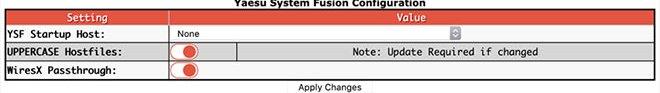 Digital mode configuration settings - YSF