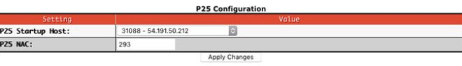 Digital mode configuration settings - P25