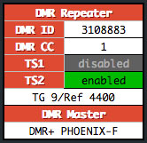 DMR Repeater module showing a linked talkgroup and repeater