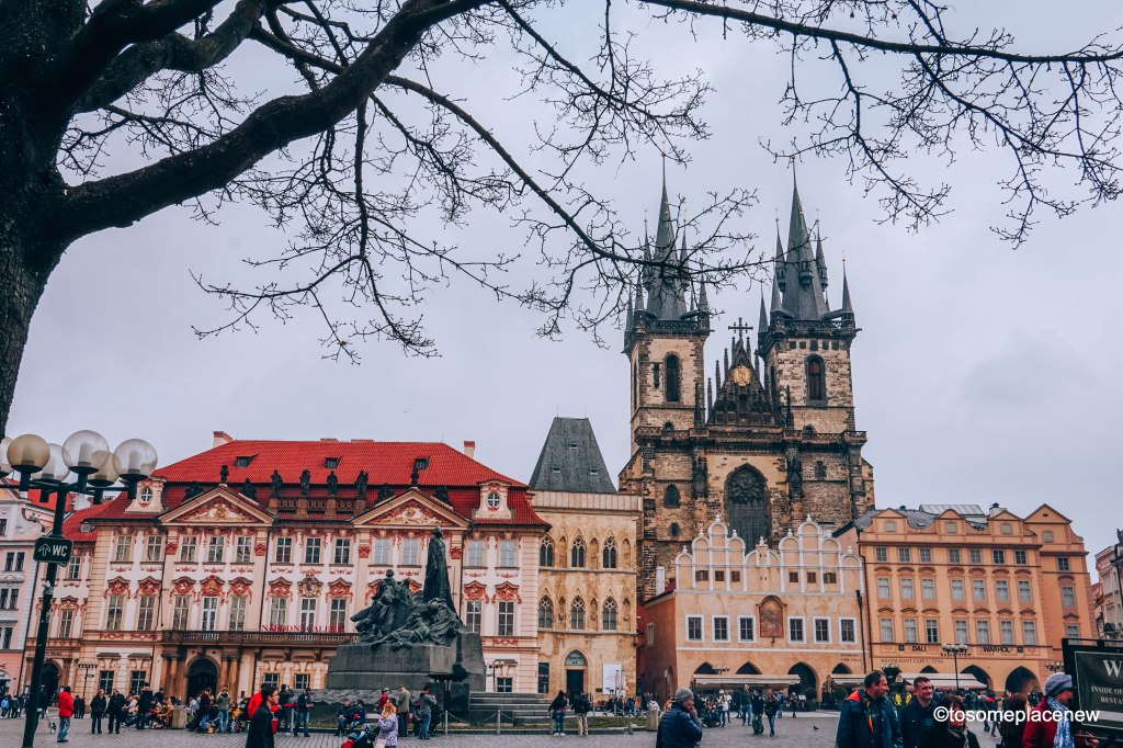 Prague Old Town Square - Kinsky Palace and Church of our Lady before Tyn #prague
