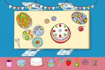 Birthday party illustration by Tostoini for WORLD Food app by Art Stories