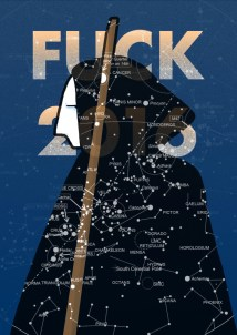 Bookcover fo F**ck 2016, a crowdsurced anthology of novels and essays on the most important public figures - musicians, artist, architects, actors, writers... - died during the year 2016