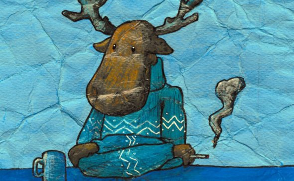 crumpled reindeer coffee illustration by tostoini