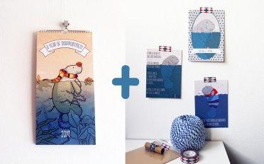 2019-postcard-calendar-set-tostoini-lamentino-manatee-illustration