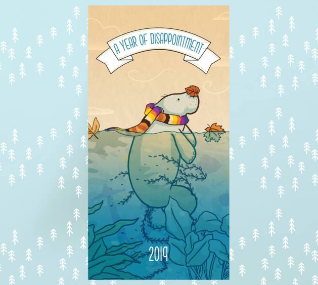 2019-wall-calendar-a-year-of-disappointment-manatee-illustration