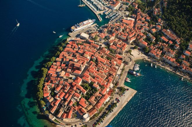 Slikovni rezultat za korcula old town from air