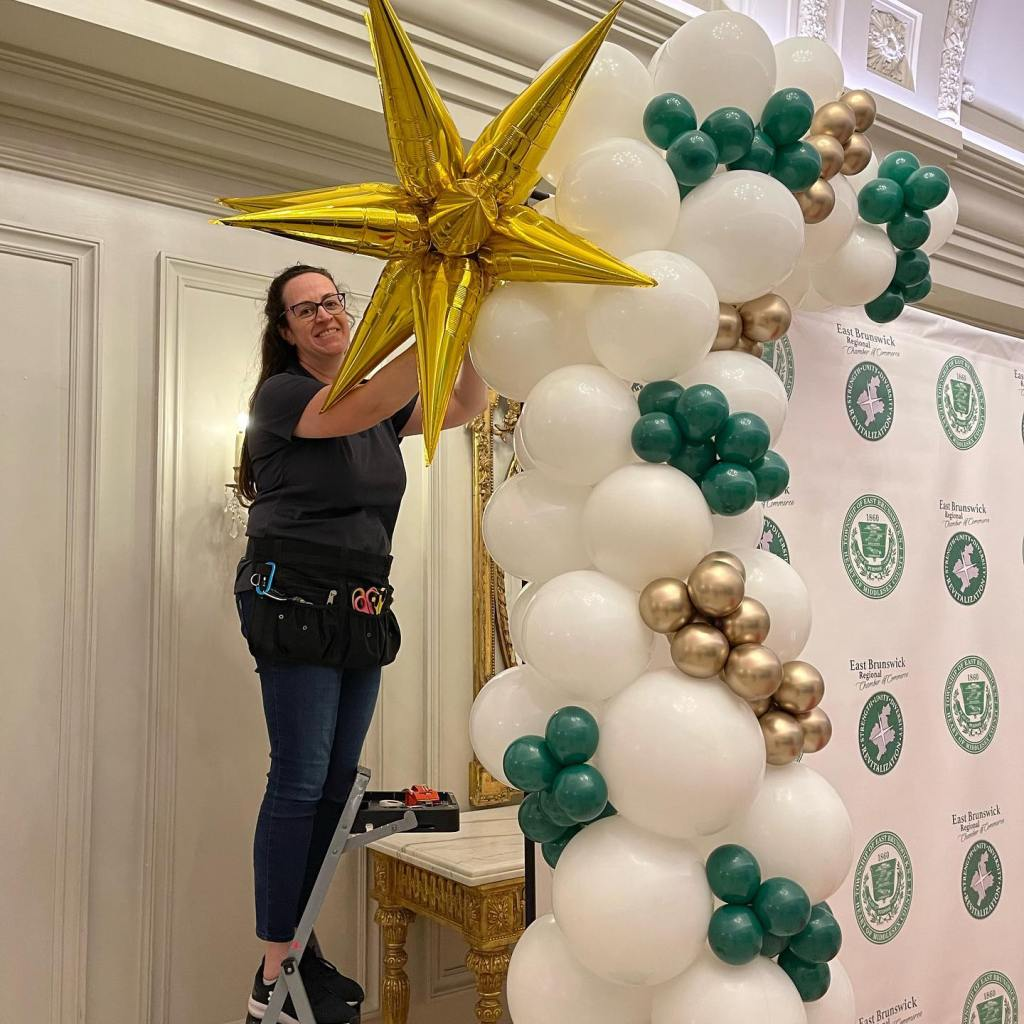 EB Chamber Gala tonight. From the set up to the gorgeous trees on the way out. Honored to be part of the Events Committee. #teamwork #eastbrunswick balloons #organicballoons #demiarch #balloonsbytotalparty