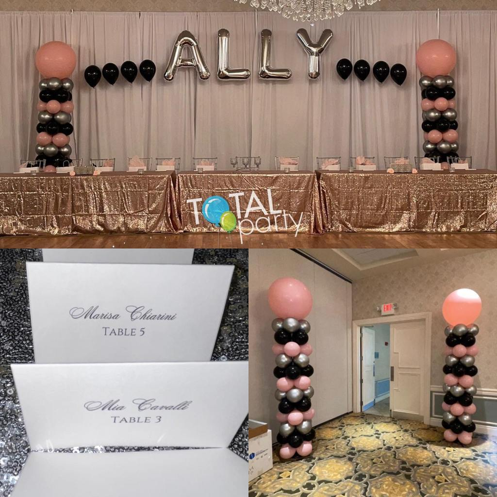 Happy Sweet 16 to Ally! #sweet16 #sweet16balloons #balloonsnearme #balloonsbytotalparty #pinkblacksilver #balloonarch #supportsmallbusiness #placecards #eastbrunswickballoons