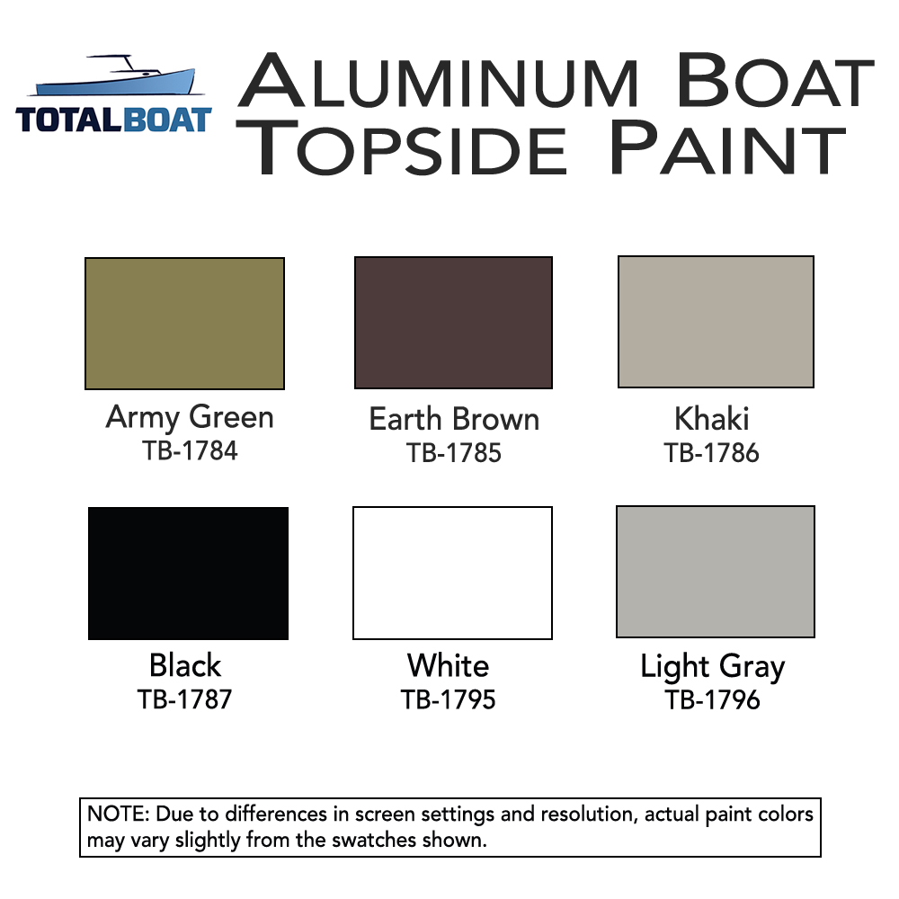 hight resolution of totalboat aluminum boat topside paint color chart