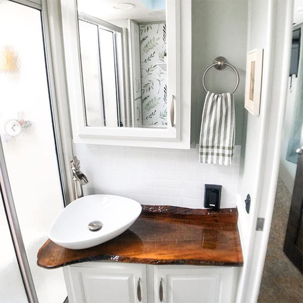 TotalBoat TableTop Epoxy on Live Edge Wood RV Sink Counter Top by @thetravelingtaylortribe