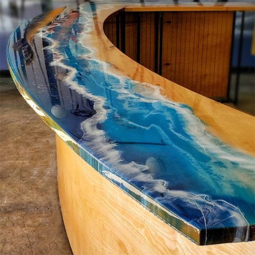 TotalBoat TableTop Epoxy Sushi Counter by @crowcreekdesigns
