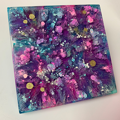 TotalBoat Epoxy Pigments Project Kit Coaster Made with Pinata Alcohol Inks
