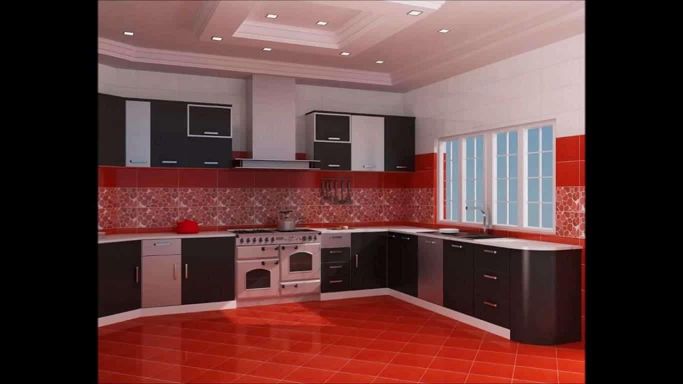 Cozinha Preta e Vermelha Simples Pequenas Planejada e