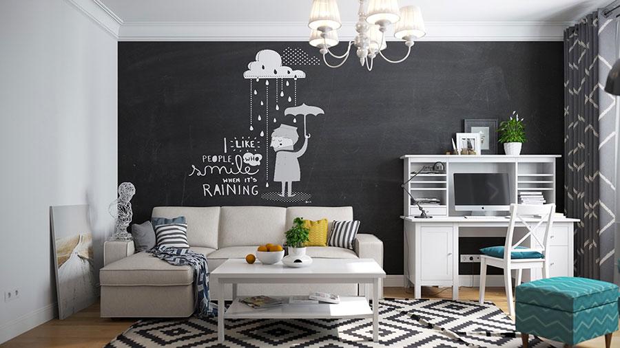 Come il resto del soggiorno, molto sobrio (mobili e tappeti bianchi,. Bianco E Nero Idee Pareti Pavimento E Arredamento