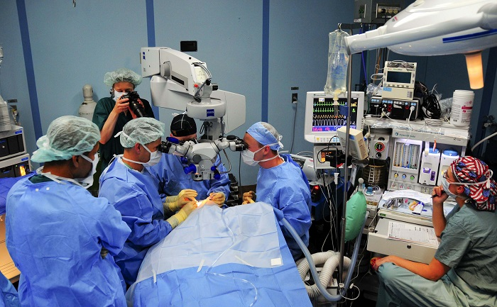 doctors performing an eye surgery