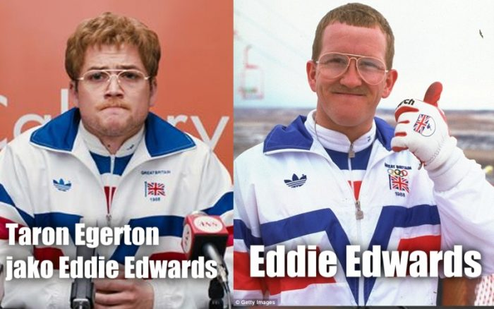 Taron Egerton jako Eddie a vpravo skutečný Eddie Edwards