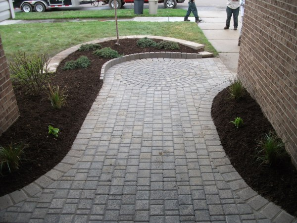 Brick Paver Walkway with Brick Retaining Wall Pictures