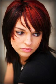 black hair with red and blonde