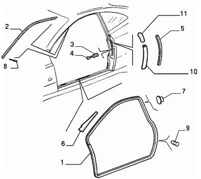 Alfa Romeo GTV/Spider (916) Door Seal Carrier